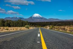 Land of Lord of the Rings. Straight road heading to the mountain in New Zealand national park stock photography