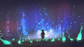 Land of many glowing green bottles. Night scenery of boy walking on the floor among many glowing green bottles, digital art style, illustration painting royalty free illustration