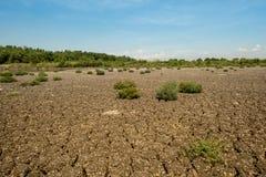 Land met droge en gebarsten grond royalty-vrije stock fotografie