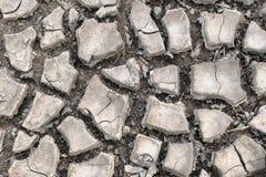 Land met droge en gebarsten grond Woestijn Royalty-vrije Stock Afbeelding