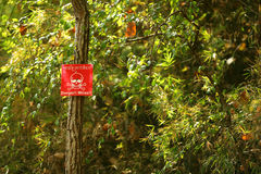Land mine sign in the woods of Cambodia Royalty Free Stock Photography