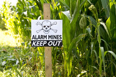 Land Mine Warning Sign Stock Photo