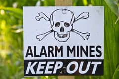 Land Mine Warning Sign. Land mine keep out warning sign Stock Images