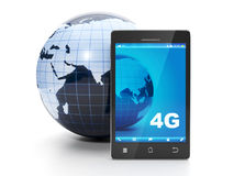 Land and mobile phone. 4g speed internet in all the earth Stock Image