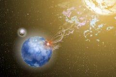 Land, Mond und Sun im Kosmos Stockbild