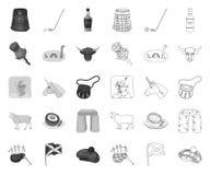 Land mono Skottland, översiktssymboler i den fastställda samlingen för design Materiel f?r sight-, kultur- och traditionsvektorsy royaltyfri illustrationer