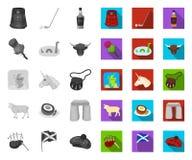 Land mono Skottland, plana symboler i den fastställda samlingen för design Materiel f?r sight-, kultur- och traditionsvektorsymbo royaltyfri illustrationer