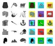 Land mono Skottland, plana symboler i den fastst?llda samlingen f?r design Materiel f?r sight-, kultur- och traditionsvektorsymbo royaltyfri illustrationer