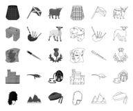 Land mono Skottland, ?versiktssymboler i den fastst?llda samlingen f?r design Materiel f?r sight-, kultur- och traditionsvektorsy stock illustrationer