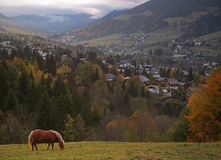 The land of Mont-Blanc, French Alps. Megeve Ski Resort in French Alps Stock Images