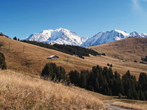 The land of Mont-Blanc, French Alps. View of Mont Blanc - the highest peak in Western Europe, Megeve ski resort, French Alps Royalty Free Stock Photo