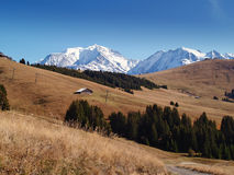 The land of Mont-Blanc, French Alps. View of Mont-Blanc at the blue sky in summer, French Alps Stock Photography
