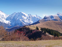 The land of Mont-Blanc, French Alps. View of Mont-Blanc at the blue sky in autumn, French Alps Stock Images