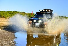 Off-road adventure and full of dynamism. Land and mud monster vehicle Royalty Free Stock Photo