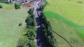 Land or mudslide on mountain road after storm im Salzburg stock video footage