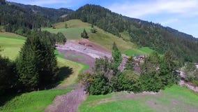Land or mudslide on mountain road after storm im Salzburg stock footage