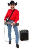 Land-Musiker-Alter 75 mit elektrischer Gitarre Lizenzfreie Stockfotos