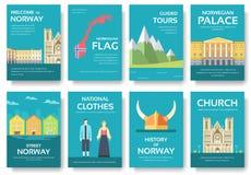 Land-Norwegen-Reiseferienführer von Waren, von Plätzen und von Funktionen Satz Architektur, Mode, Leute, Einzelteile, Natur Lizenzfreies Stockfoto