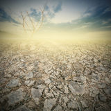 Land och knäckt jord med dramatisk himmel över sprucken jord Arkivbild