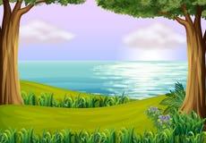 Land och vatten royaltyfri illustrationer