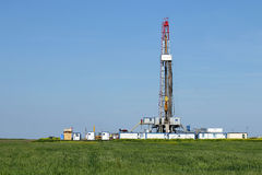 Land oil drilling rig on Royalty Free Stock Images