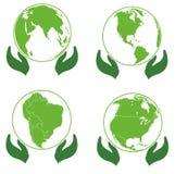 Land on palms, ecology icons Europe, America, Afri Stock Photography