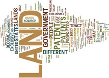 Land Patent Text Background  Word Cloud Concept Royalty Free Stock Image