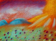 The Land of Peace and Silence - Afterworld - Soft Pastel Chalk. This hand drawn illustration has the title `The Land of Peace and Silence - the Afterworld. It Royalty Free Stock Photos