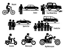 Land Personal Transport Transportation Vehicles Set Clipart. Vector set of personal transportation vehicles that includes bicycle, sedan, four-wheel drive Stock Images