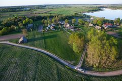 Land from a plane. Aerial view of a land Royalty Free Stock Photography