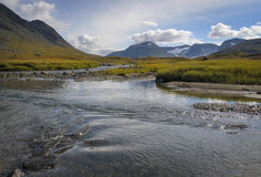 Land of rivers, mountains and glaciers, Sarek Sweden. Trekking through Sarek national park is a awesome experience. Beautiful nature royalty free stock image
