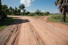 Land road02 med tvärgatan Arkivbilder