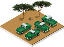 Land Rover 1962. Isometric view of a Land Rover pickup truch serie 109 1962 Royalty Free Stock Image