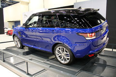 Land rover 2015. In auto show miami beach, close up front lights stock photo