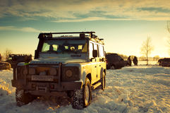 Land Rover Defender. 110 suv front Car on background the Russian winter. February 19, 2011. Mattrazz Trophy # 18 royalty free stock photography