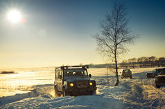 Land Rover Defender. 110 suv Car on background the Russian winter. February 19, 2011. Mattrazz Trophy # 18 stock image