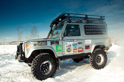 Land Rover Defender. 90 suv Car on background the Russian winter. February 19, 2011. Mattrazz Trophy # 18 stock image