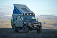 Land Rover Defender overland camper. ICELAND - SEP 17: Land Rover Defender overland camper on Sep. 17, 2015 in Iceland. The iconic and legendary Land Rover stock photography