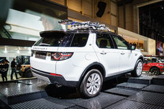 Land Rover Discovery car, Motor Show Geneve 2015. Stock Photos