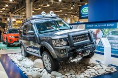 Land Rover Discovery. Moscow, Russia - August 27, 2015. Crocus Expo. International exhibition of SUVs, crossovers and off-road vehicles `Moscow Off-Road Show Royalty Free Stock Image
