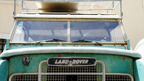 Land rover expedition. Old rusty green Royalty Free Stock Image
