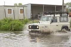Land Rover in flood Royalty Free Stock Photo