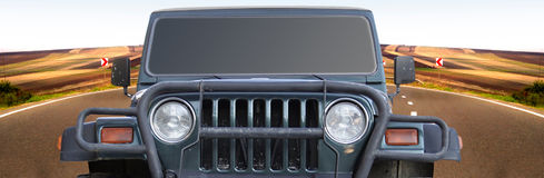 Land rover on the highway.Closeup Stock Photography