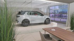CHISINAU, MOLDOVA - Land Rover and Jaguar showroom. Interior view of Exhibition. Delivery room