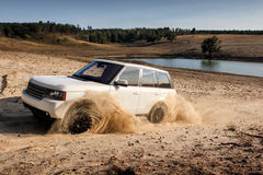 Land Rover Fast drive car speed on off-road Royalty Free Stock Images