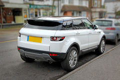 Land rover white model. Photo of new range rover evoque sd4 model with alloy wheels and tinted windows Royalty Free Stock Photos