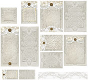 Land Rustiek Tin Type Lace Invitation Set Royalty-vrije Stock Foto's