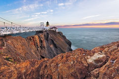 Land's End. Point Bonita Light House just outside San Francisco, California is one of the state's most beautiful with a suspension bridge leading visitors to the Stock Photography