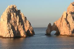 Land's End Arch and Rock. Land's End, rock formation in Cabo San Lucas Mexico Stock Image