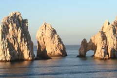 Land's End Arch and Two Rocks. Land's End, rock formation in Cabo San Lucas Mexico Stock Photography